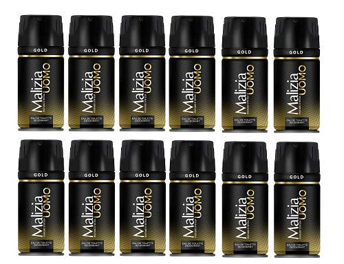 12x MALIZIA UOMO Gold mann deo 150ml deospray deo spray deodorant Edt Parfüm