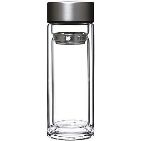 水筒 ティーボトル タンブラー ガラス 二重構造 紅茶 茶こし付き 300ml