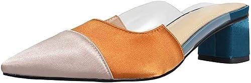 XLY Slip de Couleur Assortie de la Mode des Femmes sur des Mules, Dos Nu Bas Bloc Talon Mocassins Quotidiens habillent des Chaussures de Pantoufle,jaune,35