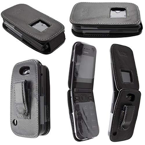 caseroxx Borsa in pelle con clip da cintura per Nokia 2720 Flip, Funda carcasa vera pelle (con finestra trasparente) in nero