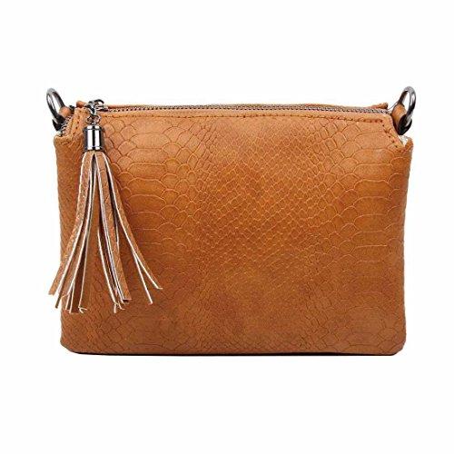 OBC ital-Design Clutch Schultertasche Damentasche Tasche Borsetta Crossover Umhängetasche Geldbörse Schmucktasche (Cognac (22x15 cm))