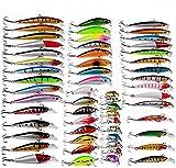 56Pcs Kits de señuelos para Pesca, LAEMALLS Cebos Artificiales de Pesca Cebo Duros/Suaves, Ojos 3D,...