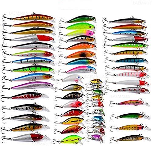 56Pcs Kits de señuelos para Pesca, LAEMALLS Cebos Artificiales de Pesca Cebo Duros/Suaves, Ojos 3D, Accesorios Cebos Articulos de Pesca para la Pesca, Trucha, Bagre, Bass, Salmón y Lucio#1