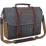 Mens Laptop Messenger Bag Waterproof Computer Leather Satchel Briefcases Vintage Canvas Shoulder Bag Large Work Bag Grey 15.6 inch