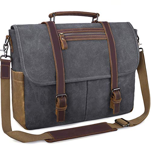Mens Laptop Messenger Bag Waterproof Computer Leather Satchel Briefcases Vintage Canvas Shoulder Bag Large Work Bag Grey 15.6 inch