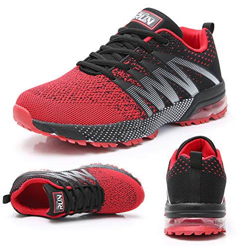 Fexkean Zapatillas de deporte para hombre y mujer, para entrenar, gimnasio, correr, actividades al aire libre, fitness, trekking, 36-47 EU, color Rojo, talla 47 EU