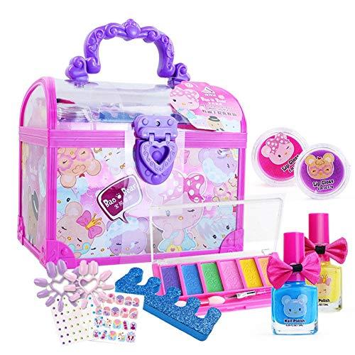 Sue-Supply Kit de Maquillage pour Enfants Semblant Jouer étui de Maquillage et Ensemble cosmétique pour Filles Autocollants à Ongles cosmétiques Jouets Cadeau d'anniversaire de Vacances 20x17x13.5 cm