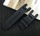 OWZSAN Orologi da Donna Cintura di Orologio per Orologio in Silicone Nero in Gomma Cinturini in Pelle Metallo Acciaio Inossidabile (Color : Black, Dimensione : 32X26mm)