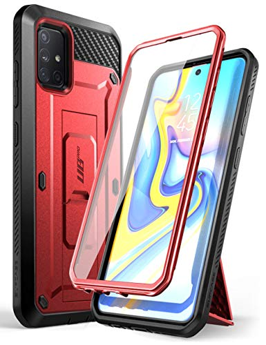 SUPCASE Unicorn Beetle Pro Series Designed for Samsung Galaxy A71 5G Case[Not for A71 5G UW Verizon], Full-Body Rugged Holster & Kickstand Case with Built-in Screen Protector (Metallic Red)
