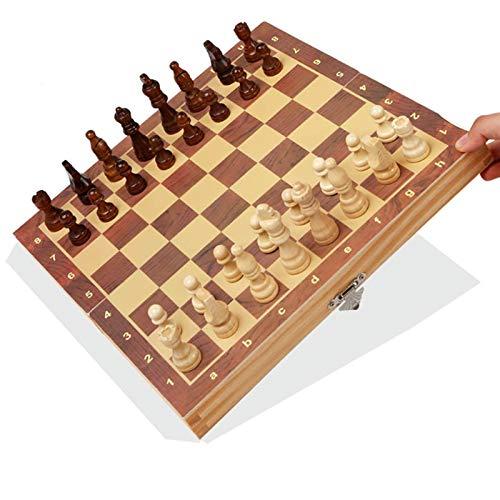 JooDaa Tablero de ajedrez portátil de Madera Grande de Gama Alta de ajedrez magnético Plegable para Principiantes y Adultos