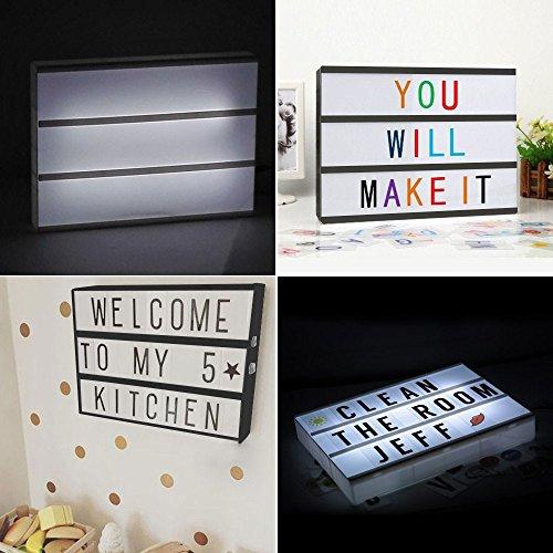 A4 Light Box With Letters Emoji Numbers (119 Color + 84 Black) LED DIY Letter Board Light Box USB Cinema Light Box With Letters Gift For Birthday Festival Photo Props Decoration Inspirational Reminder