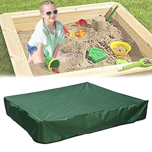 Oslimea Sandbox Cover with Drawstring, Square Dustproof Protection Beach Sandbox Canopy, Waterproof Sandpit Pool Cover (Green, 78.74' x 78.74')