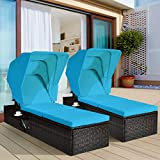 Tangkula 2PCS Outdoor Chaise Lounge Chair with Folding Canopy, Adjustable Cushioned Reclining Chair with Flip-up Tea Table, Rattan Sun Lounger for Beach Poolside Backyard Balcony Porch (2, Turquoise)