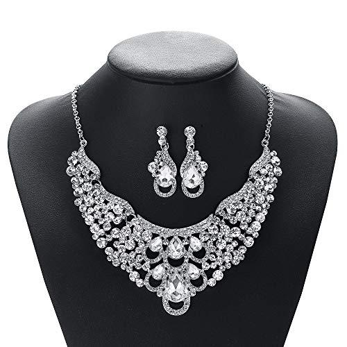 LLCX Vintage Halskette Set, Ethno-Stil Kristall Strass Halsband Ohrringe Frauen-Hochzeit Kragen bib, Party Schmuck zweiteiliges Set (42 cm)