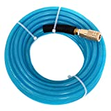 Maxaline Air Compressor Hose 1/4'X100FT Reinforced Polyurethane (PU) with 1/4 in Quick Connect Plug & Coupler Fittings Blue