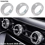 YUWATON Bling Crystal Fashion Car Interior Accessories fit for Honda Inspire Accord Sport EX EX-L Touring Sedan 2018-2019 AC Air Conditioner Control Switch Knob HVAC Heater Rhinestone 3D Decals Cover
