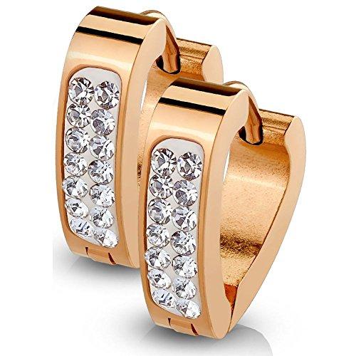 Bungsa® Rosegold - Creolen Dreieckig Zirkonia Edelstahl 1 Paar | 4 FARBEN | (Ohrringe Ohrschmuck Ohrklemmen Studs Damen Frauen Herren Mode Earrings)