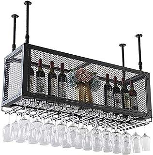 DJSMjbj Casier à vin européen à suspendre avec grille en fer pour rangement de bouteilles de vin et verres - 2 étages - Di...