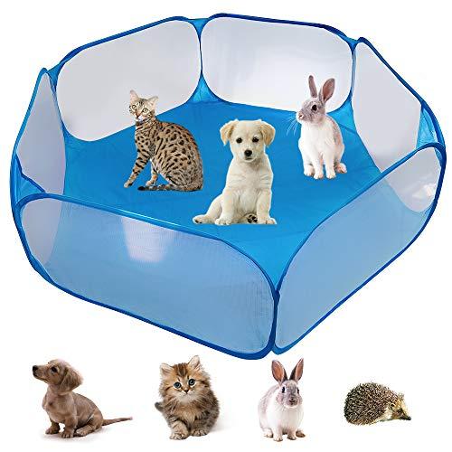 Tienda de Campaña para Pequeños Animales,Tienda de Jaula Plegable para Animales Pequeños Valla Portátil para Patio,para Conejillos de Indias Conejos (Blue)