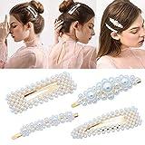 4Pièces de Pinces à Cheveux avec Fausses Perles Blanches pour Femmes Pince à Cheveux de Mariée Accessoires pour Coiffure de Mariage