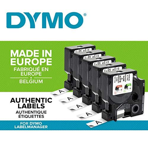 Dymo D1-Standard-Kennzeichnungsband 45013(S0720530) 12mm x 7m, schwarz auf weiß, 5 Stück