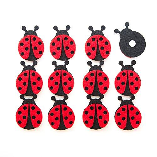 12 Stück rot schwarze Filz Marienkäfer Glücksbringer Glück Symbol gepunktet Größe: 5 cm mit Klebepunkt zur Deko Ostern Geburtstag Kinder Erwachsene Tischschmuck Geschenkanhänger Clip