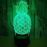 Solo 1 pieza Pinefruit 3d Night Light Remote Touch Usb Led Kids Lights Lámparas switchLovely 7 cambio de color Lámpara 3D