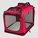 AVC Portable Soft Fabric Pet Carrier Folding Dog Cat Puppy Travel Transport Bag (Extra Large, Red)