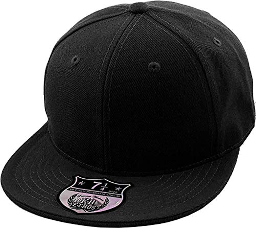 KBETHOS KNW-2364 BLK (7 1/2) The Real Original Fitted Flat-Bill Hats True-Fit, 9 Sizes & 20 Colors