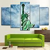 XIAYUU Estatua de la Libertad, Nueva York Decoración De Pared 5 Piezas Impresión En Lienzo HD Cuadro De Pintura Póster De Arte Moderno Marco,Sala De Estar Decoración del Hogar(150 x 80 CM)