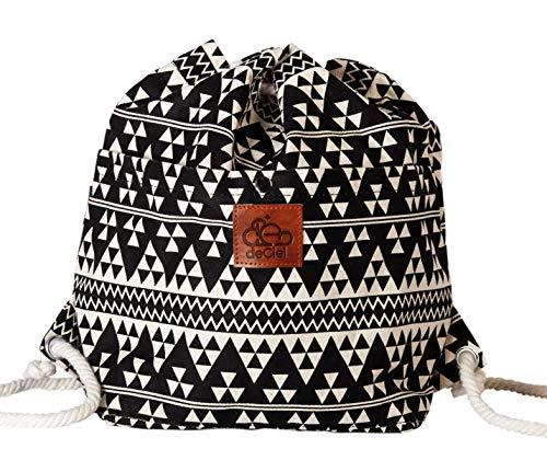 deCiel Kleiner Rucksack Lima - aus Canvas - Baumwolle Style Gymbag Sportbeutel Turnbeutel Hipster Fashion (Schwarz/ETNO)