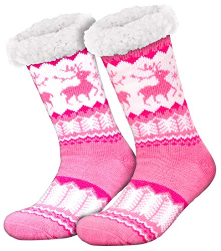 Compagno Kuschelsocken Rentiere mit ABS Anti Rutsch Sohle Wintersocken Damen Herren Socken 1 Paar Einheitsgröße, Farbe:Rosa