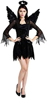 QYLOZ Dark Angel Lady Cosplay, Halloween Costume Party, Including Headwear, Costumes, Wings for a Variety of Theme Parties (160cm-175cm)