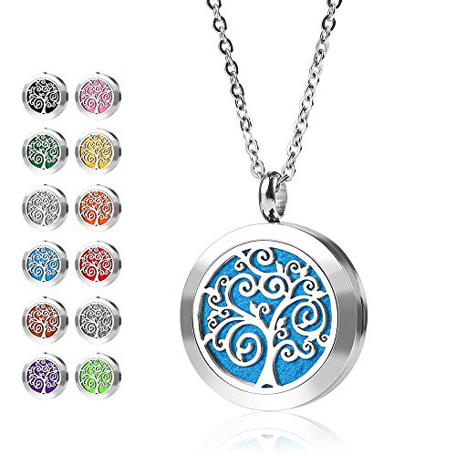 RoyAroma Mini Tree of Life Diffuser Necklace, Aromatherapy Essential Oil Necklace, Stainless Steel Locket Pendant, 12 Felt Pads