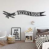 Adesivo biplano con banner nome personalizzabile adatto a cameretta per bambini e altro K751