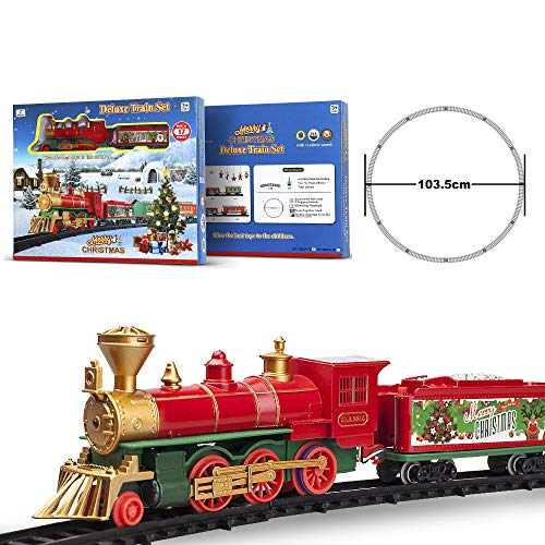 FENFA Train Set Toys with Light and Sound for Under Christmas Tree Battery Operated Classic Train with Tracks for Kids Boys and Girls 3 Years and Up 1600A-7C