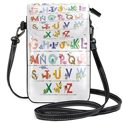 XCNGG Monedero pequeño para teléfono celular A Z Lettering Educational Pattern Cell Phone Purse Wallet for Women Girl Small Crossbody Purse Bags