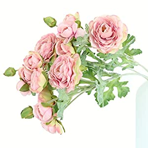 Htmeing 3PCS Artificial Ranunculus Flowers Flocked Stems Spray DIY Wedding Flowers Silk Bridal Bouquets Wedding Centerpieces (Pink)