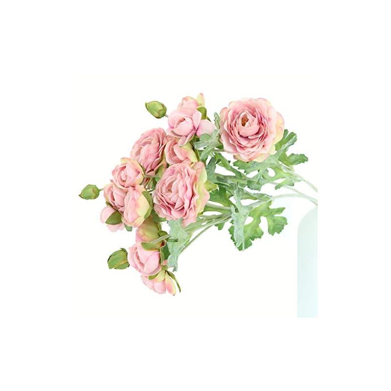 silk flower arrangements htmeing 3pcs artificial ranunculus flowers flocked stems spray diy wedding flowers silk bridal bouquets wedding centerpieces (pink)