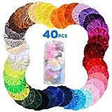 Samt Haargummis 40 Stücke, Bunte Elastische Haarbänder Scrunchies, Pferdeschwanz Haarband Haaschmuckr für Mädchen Frauen Haarschmuck mit Aufbewahrungstasche(40 Farben)