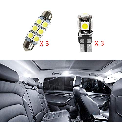 per Polo MK4 Super Luminoso Sorgente luci Interne a LED Lampada per Auto abitacolo Lampadine di Ricambio Bianca Confezione da 6