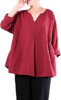 MK988 Women's Plus Size Long Sleeve V-Neck Checked Loose Fit Vintage Blouse Top T-Shirt