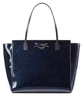 Mavis Street Taden Vinyl Glitter Tote Handbag, Midnight Ocean Blue