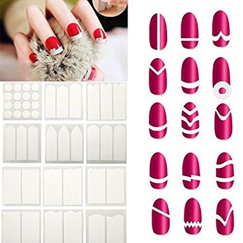 Manicura de 24 hojas de arte de uñas plantillas extremidades francesas pegatinas...