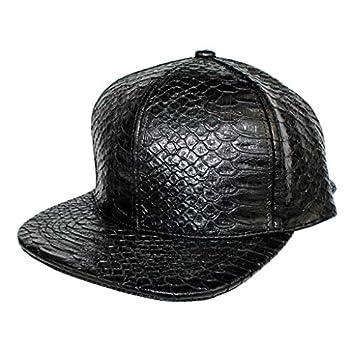 Xtra Hip Hop Dance Snakeskin PU Leather Snapback Men Women Unisex Baseball Cap Streetwear Adjustable Metal Buckle Hat  Black