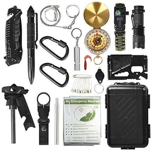 DINOKA Outdoor Survival Kit 17 in 1 Multifunktional Outdoor Kit mit Messer Taktische Taschenlampe für Camping Bushcraft Wandern Jagden Outdoor Abenteuer