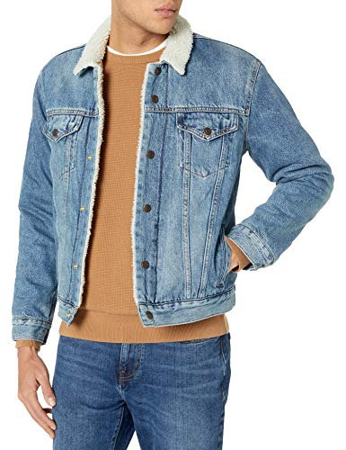Lucky Brand Men's Button Up Denim Trucker Jacket, Willow Street Sherpa, L