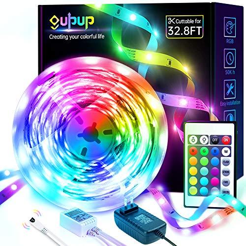 LED Strip Lights 32.8ft, GUPUP LED Lights for Bedroom RGB Color Changing LED Lights Strip with Remote SMD 5050 12V LED Room Lights for Kitchen, Ceiling, Party, Home Indoor Decoration, 1 Roll