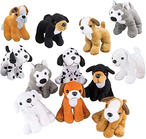 Bottles N Bags Plush Puppy Dog Stuffed Dog Animal Toys | Variety Pack Made of Soft Plush ● Great as a Party Favor, Gift, or Companion ● Pretend Play for Kids ● 1 or 2 Dozen Puppy Assortment (12 Pack)