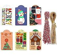【BEAUTY PLAYER】クリスマス ギフトタグ ペーパータグ 装飾カード 吊り クリスマスツリー デコレーション プレゼント ラベル 96枚セット ロープ付き (6種)